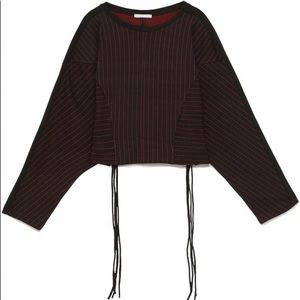 Zara Striped Red Black Drawstring Top
